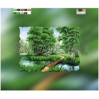 """Схема на холсте с подрамником для вышивки бисером """"Мостик в лесу"""" (Схема или набор)"""