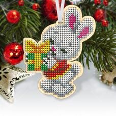 """Новогодняя деревянная игрушка для вышивки бисером или нитками """"Зайка"""""""