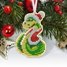 """Новогодняя деревянная игрушка для вышивки бисером или нитками """"Змея"""""""
