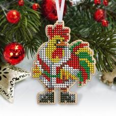 """Новогодняя деревянная игрушка для вышивки бисером или нитками """"Петух"""""""