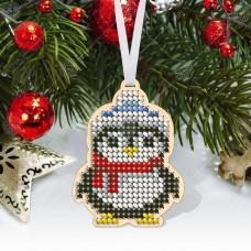 """Новогодняя деревянная игрушка для вышивки бисером или нитками """"Пингвин"""""""