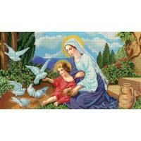 """Схема или набор для вышивки бисером """"Богородица с голубями"""""""