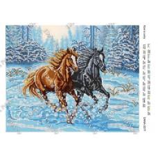 Схему для вышивки бисером «Лошади в снегу» (Схема или набор)