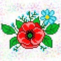 Водорастворимый флизелин для вышивки бисером или нитками «Полевые цветы» (Схема или набор)