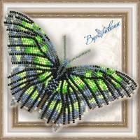 Набор магнит- бабочка для вышивки бисером «Малахитовая».