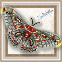 Набор магнит- бабочка для вышивки бисером «Гиалофора кекропия».