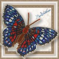 Набор магнит- бабочка для вышивки бисером «Красный павлин».