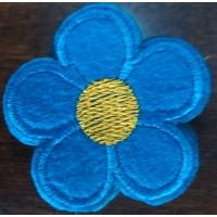 """Клеевая нашивка на одежду  """"Цветочек"""" (голубой)"""
