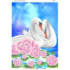 """Схема для частичной зашивки бисером """"Пара Лебедей"""""""