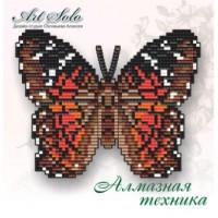 Набор магнит- бабочка для вышивки стразами «Алый павлин (ANARTIA AMATHEA)»