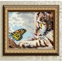 Набор для алмазной вышивки «Котенок и бабочка»
