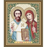 """Икона для вышивки бисером """"Святые мученики Киприан и Иустина"""" (Схема или набор)"""