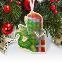"""Новогодняя деревянная игрушка для вышивки бисером или нитками """"Дракоша"""""""