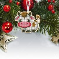 """Новогодняя деревянная игрушка для вышивки бисером или нитками """"Бычок-2"""""""