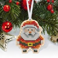 """Новогодняя деревянная игрушка для вышивки бисером или нитками """"Дед Мороз"""""""
