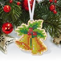 """Новогодняя деревянная игрушка для вышивки бисером или нитками """"Колокольчики"""""""