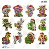 Комплект новогодних игрушек для вышивки бисером или нитками (вышивка по дереву)