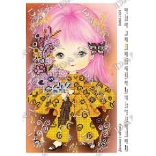 """Схема для вышивания бисером """"Девочка с цветочками"""" (Схема или набор)"""