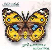 Набор магнит- бабочка для вышивки стразами «Желтые Анютины Глазки (Junonia Hierta)»