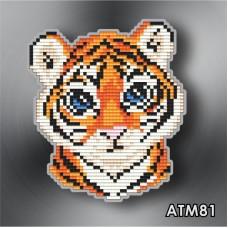 Набор для выкладки пластиковыми стразами детский Магнит «Тигр» АТМ81.