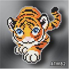 Набор для выкладки пластиковыми стразами детский Магнит «Крадущийся тигр» АТМ82.